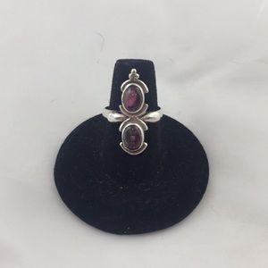 SS .925 ring with purple tourmaline stones